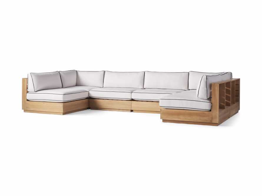 "Bal Harbour Outdoor Teak 156"" Six Piece U-Shaped Sectional with Flange, slide 3 of 6"