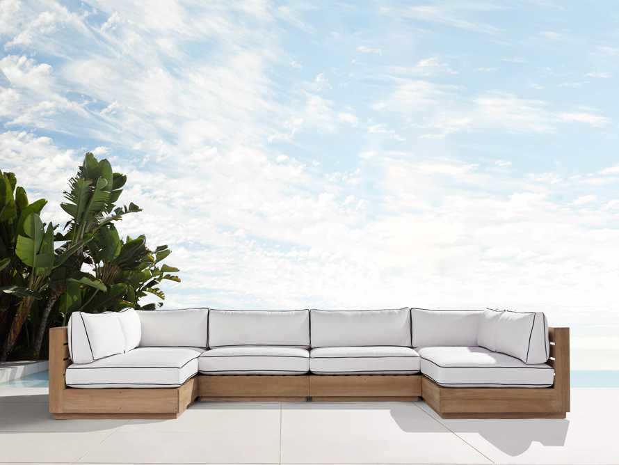 "Bal Harbour Outdoor Teak 156"" Six Piece U-Shaped Sectional with Flange, slide 1 of 6"