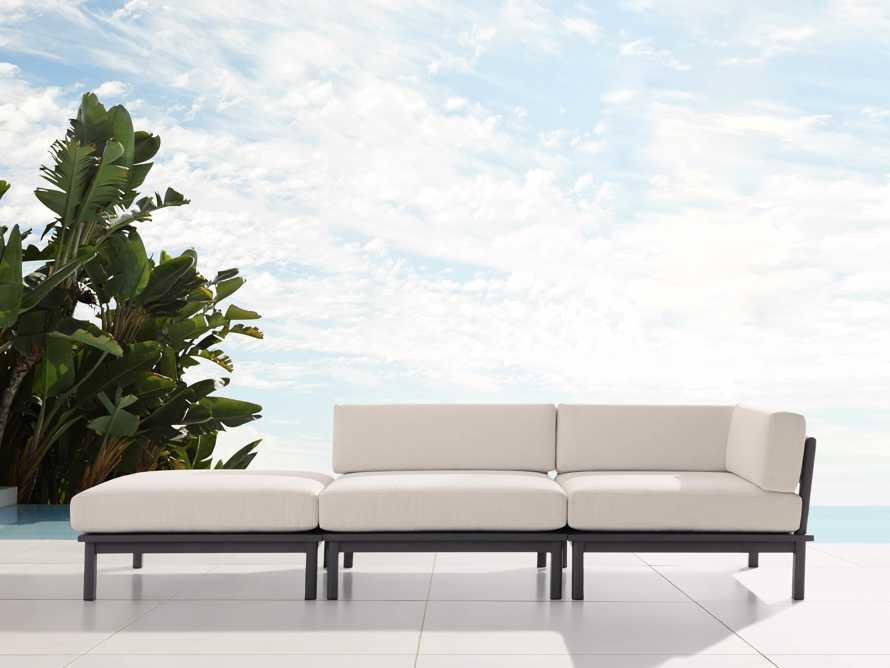"Costa Outdoor 114.5"" Aluminum Three Piece Sectional, slide 1 of 5"