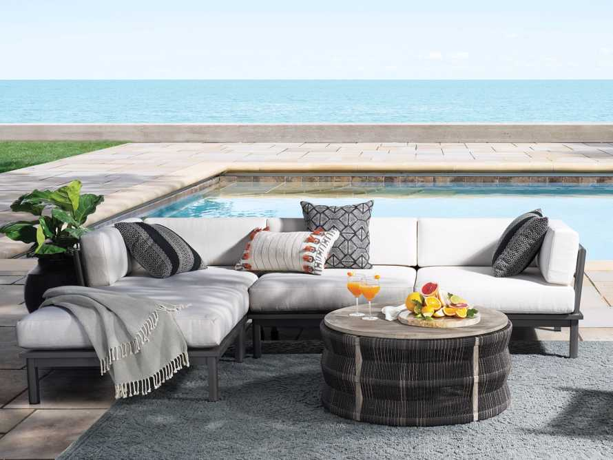 """Costa Outdoor 115"""" Aluminum Four Piece Sectional, slide 1 of 6"""