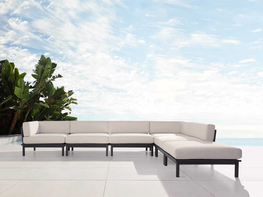 "Costa Outdoor 153"" Aluminum Six Piece L Sectional, slide 1 of 4"