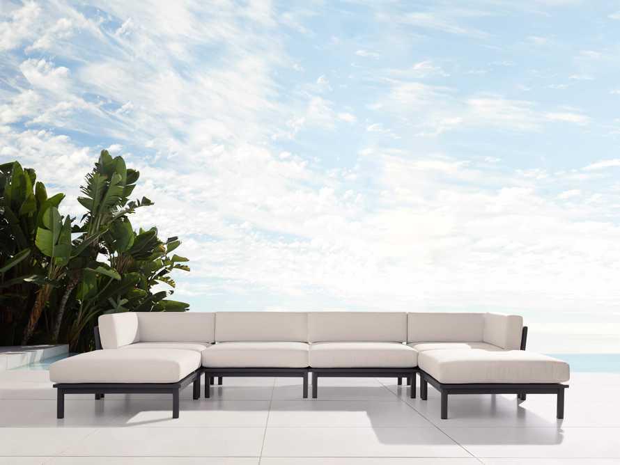 "Costa Outdoor 153"" Aluminum Six Piece U Sectional, slide 1 of 3"