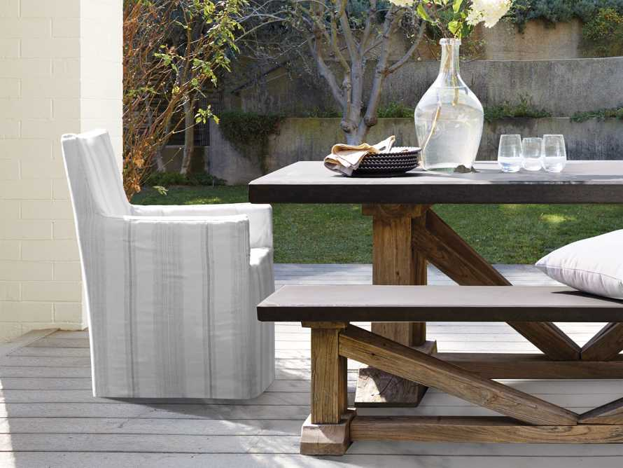 """Devon Outdoor 22"""" Slipcovered Dining Arm Chair in Modena Snow, slide 1 of 7"""