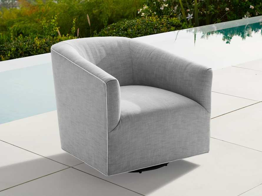 "Ellison Outdoor 31"" Swivel Chair in Starboard Zinc, slide 2 of 7"