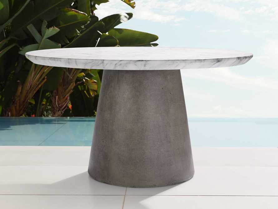 "Edgewater Outdoor 54"" Stone Dining Table in White Faux Marble/greystone, slide 2 of 6"