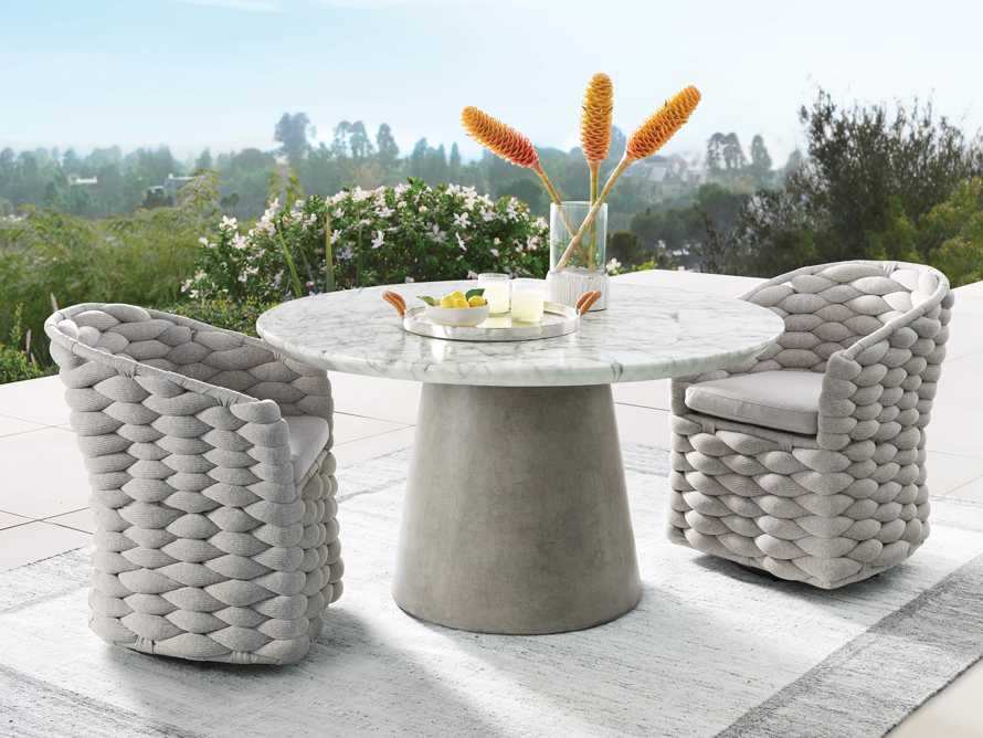 "Edgewater Outdoor 54"" Stone Dining Table in White Faux Marble/greystone, slide 1 of 6"