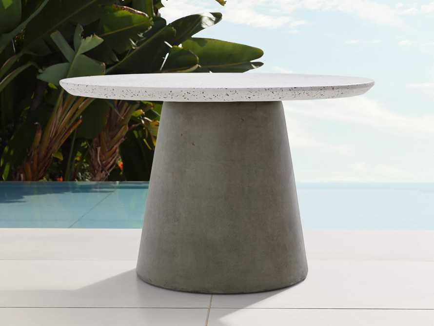 "Edgewater Outdoor 54"" Stone Dining Table in Natural Terrazzo/greystone, slide 2 of 7"