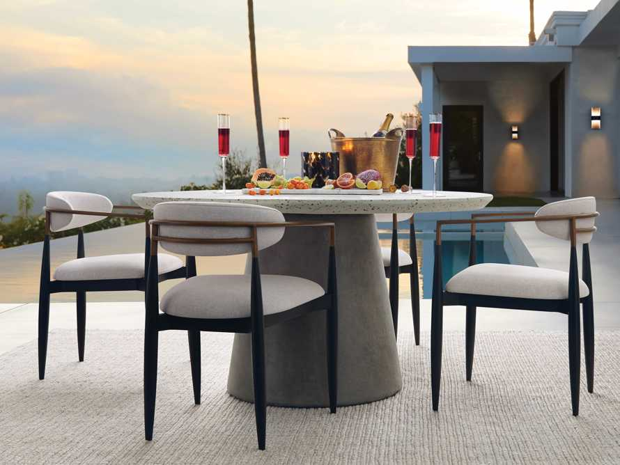 "Edgewater Outdoor 54"" Stone Dining Table in Natural Terrazzo/greystone, slide 1 of 7"