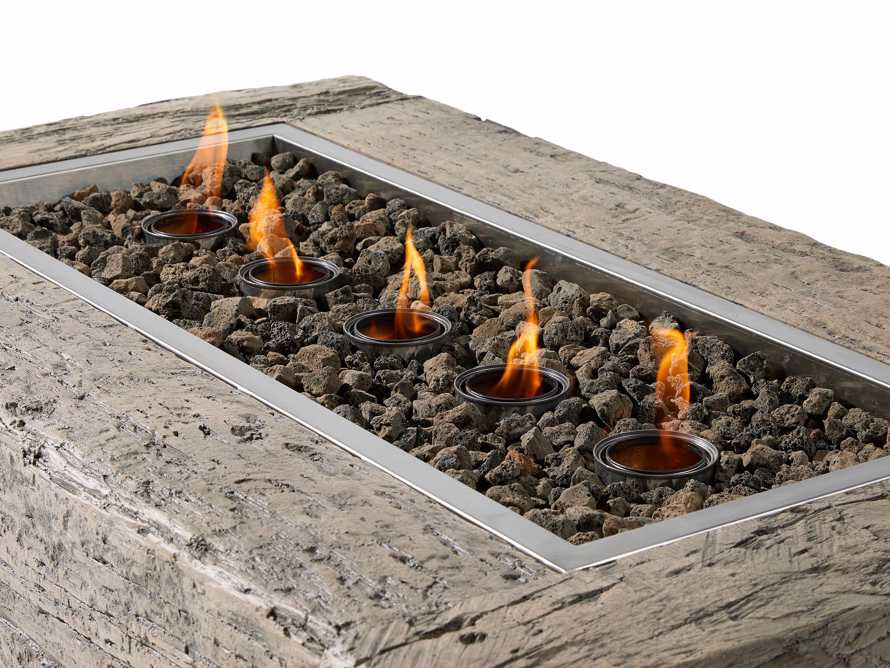 Natural Log Rectangle Outdoor Fire Table, slide 7 of 9