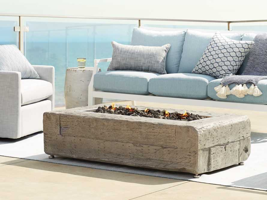 Natural Log Rectangle Outdoor Fire Table, slide 1 of 9