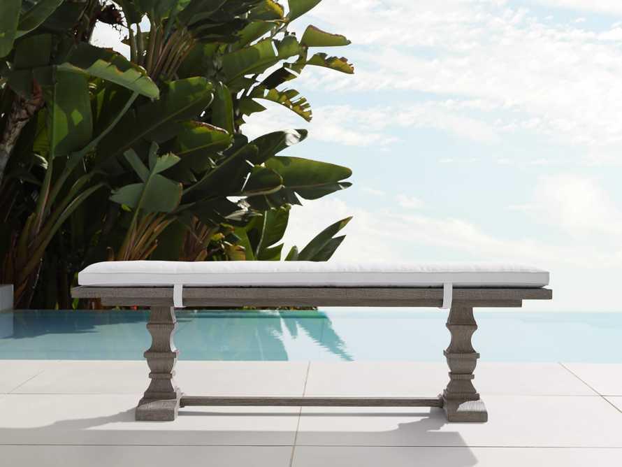 "Hamptons Outdoor 66"" Dining Bench in Driftwood Grey, slide 1 of 4"