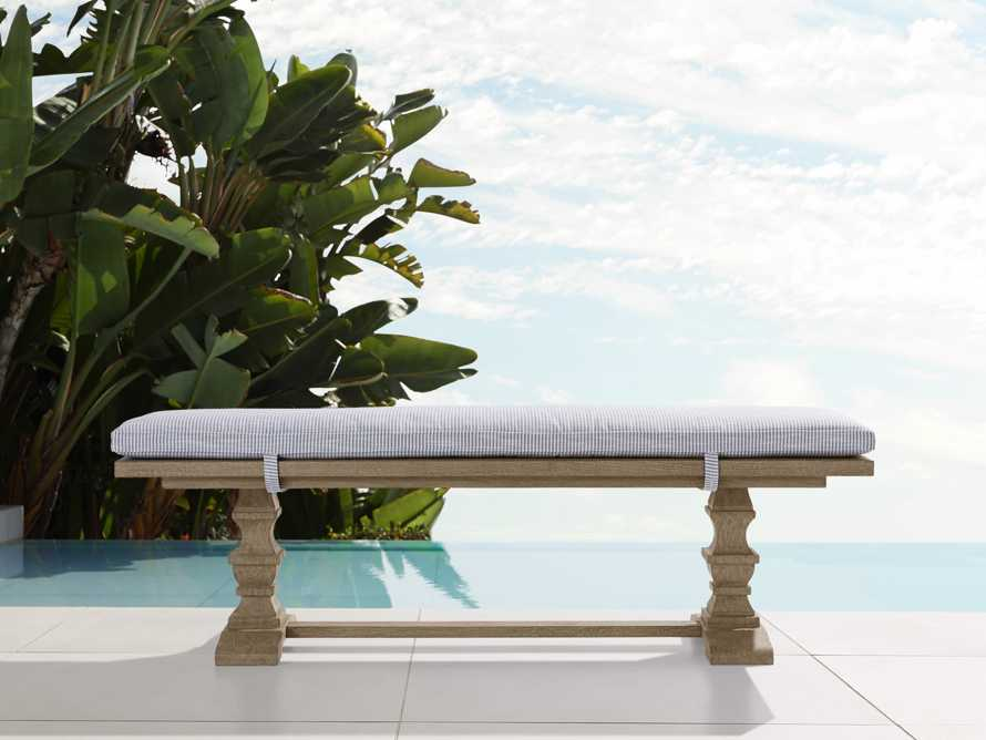 """Hamptons Outdoor Upholstered 80"""" Teak/Cushion Dining Bench in Pinstripe Blue and Weathered Fawn, slide 1 of 4"""