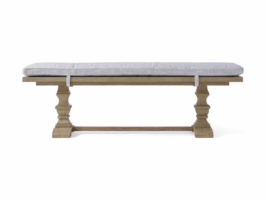 """Hamptons Outdoor Upholstered 80"""" Teak/Cushion Dining Bench in Pinstripe Blue and Weathered Fawn, slide 2 of 4"""