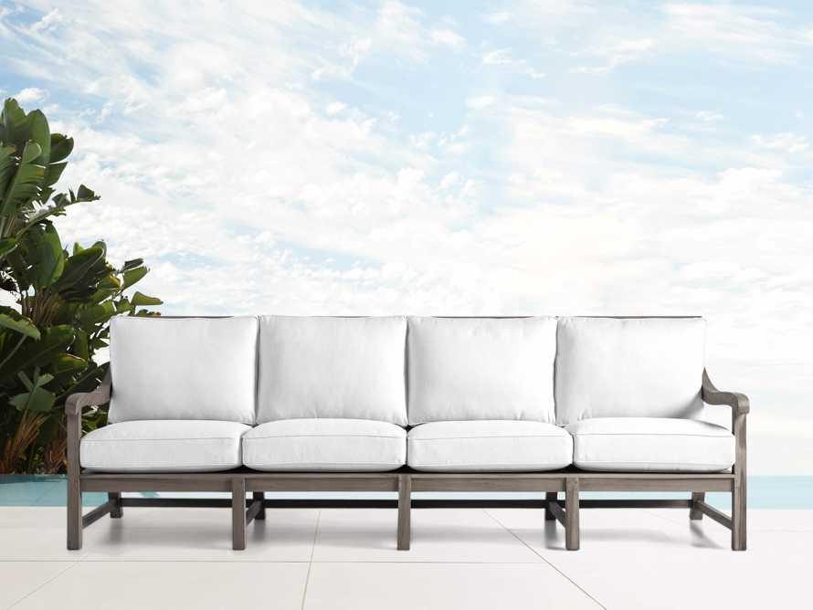 """Hamptons Outdoor 109.5"""" Sofa in Driftwood Grey, slide 1 of 2"""