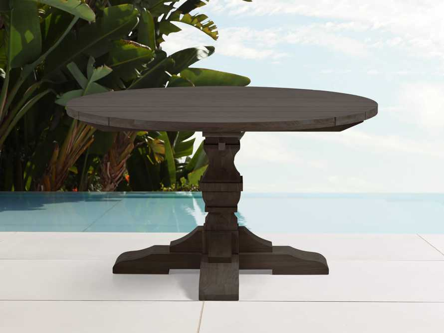 "Hamptons Outdoor 48"" Round Teak Dining Table in Truffle Brown, slide 1 of 3"