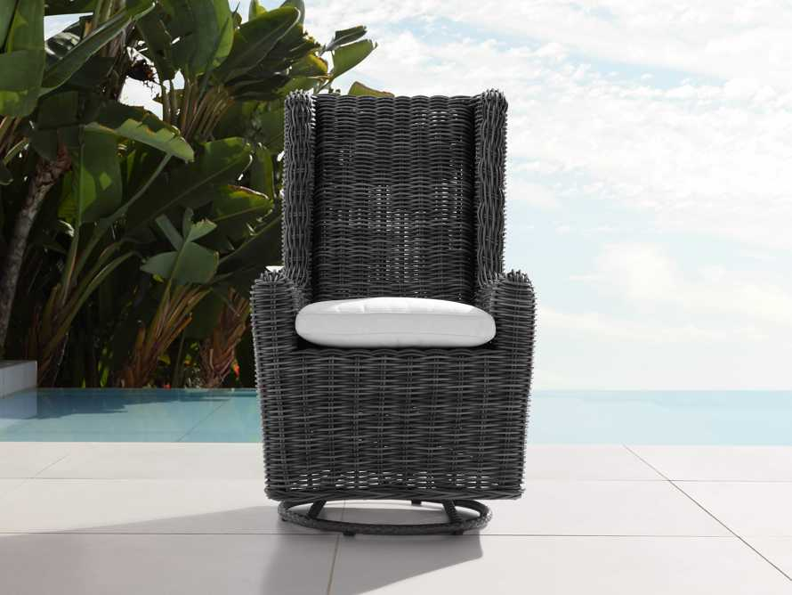 "Huntington Outdoor 27"" Dining Swivel Chair in Sailcloth Salt and Dark Charcoal, slide 1 of 3"