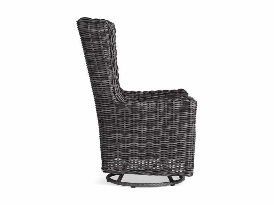 "Huntington Outdoor 27"" Dining Swivel Chair in Sailcloth Salt and Dark Charcoal, slide 2 of 3"