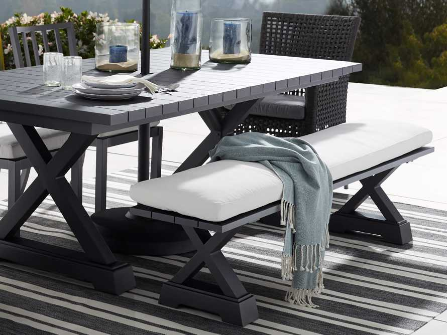 "Montego Outdoor 77"" Dining Bench in Slate, slide 1 of 7"