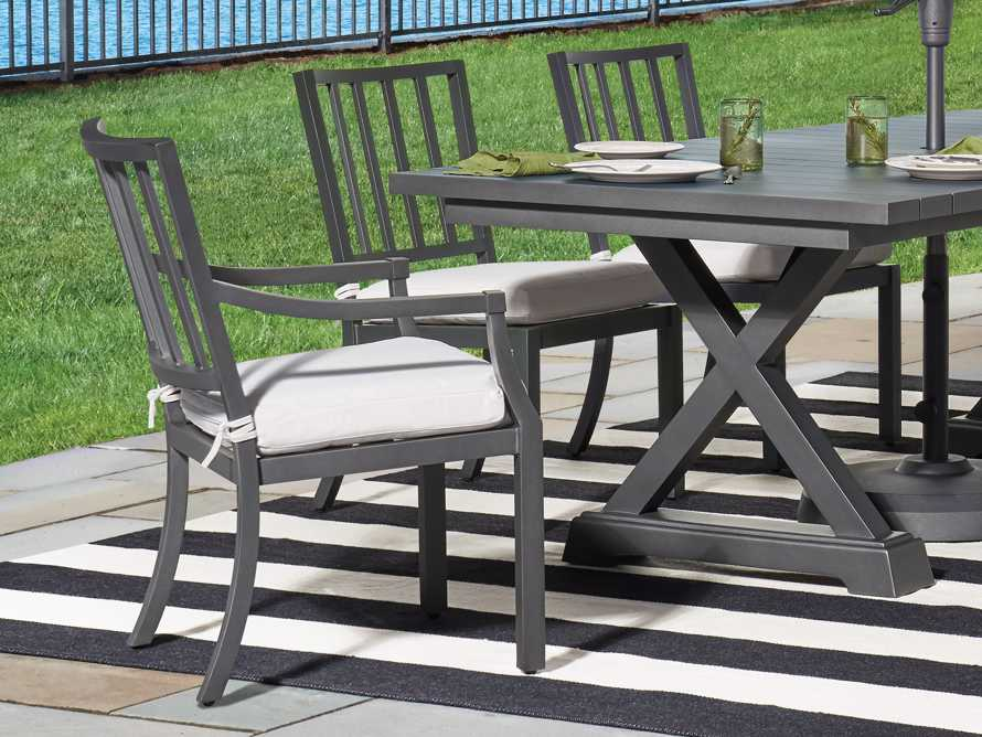 """Montego Outdoor 23"""" Dining Arm Chair in Slate, slide 2 of 9"""
