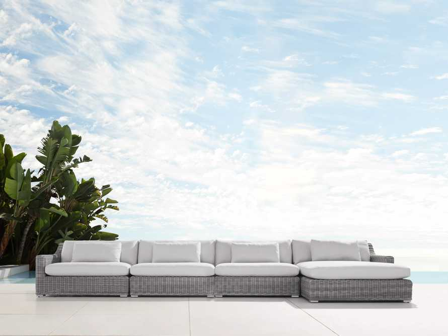 "Montauk Outdoor  204"" Four Piece Reverse L Sectional in Vista Grey, slide 1 of 5"
