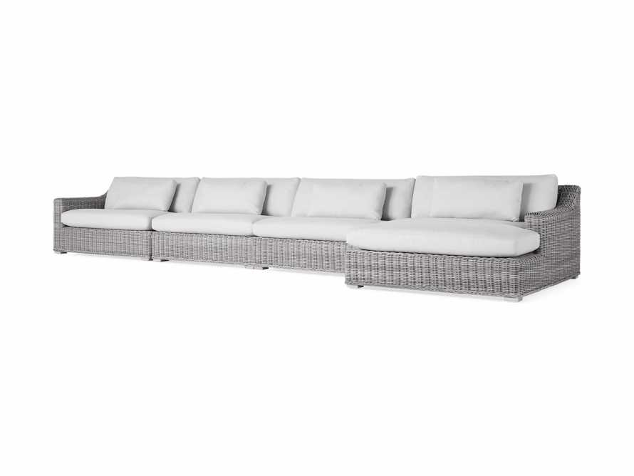 "Montauk Outdoor  204"" Four Piece Reverse L Sectional in Vista Grey, slide 3 of 5"