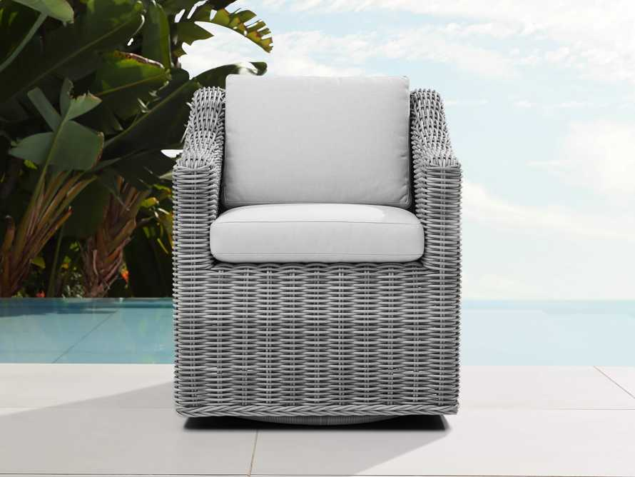 "Montauk Outdoor 26"" Dining Arm Chair in Vista Grey, slide 1 of 7"