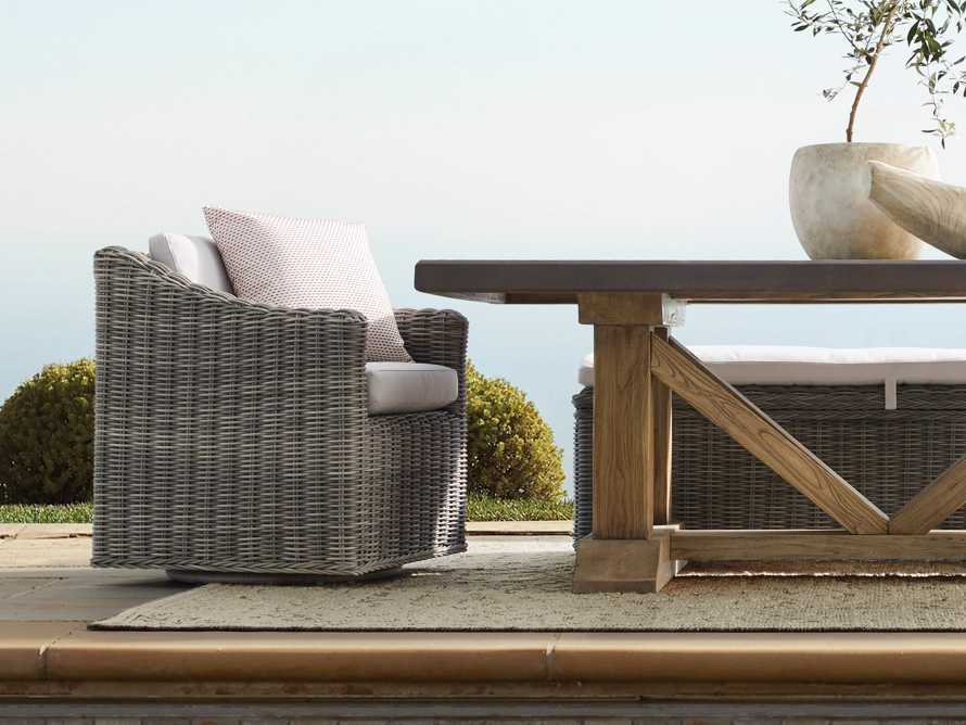 "Montauk Outdoor 26"" Dining Arm Chair in Vista Grey, slide 2 of 7"