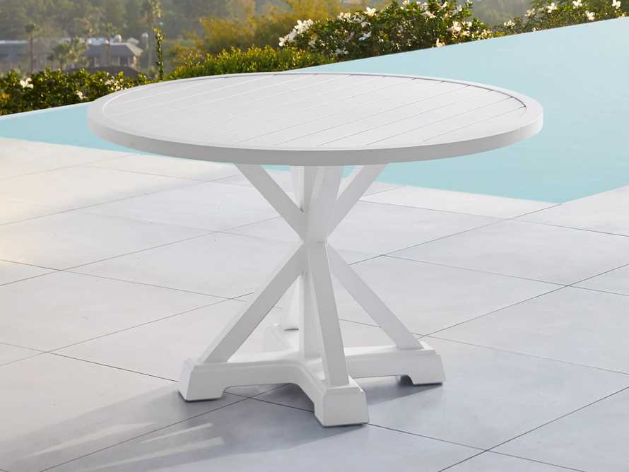 """Montego Outdoor 60"""" Round Dining Table in White, slide 2 of 6"""