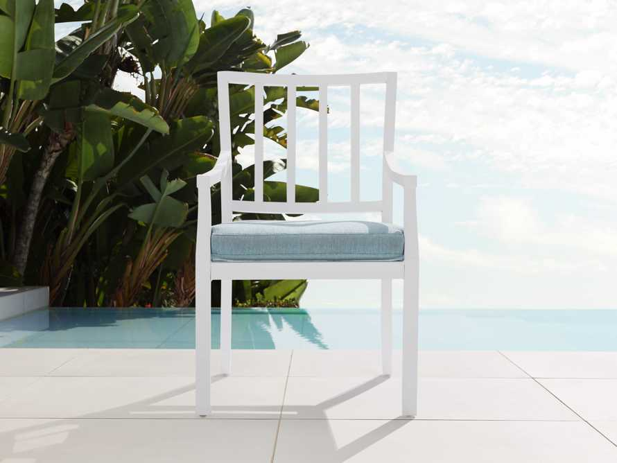 "Montego Outdoor 23"" Dining Arm Chair in Blanc, slide 2 of 7"