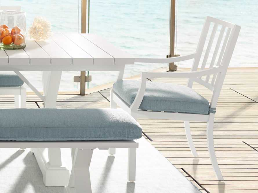 "Montego Outdoor 23"" Dining Arm Chair in Blanc, slide 1 of 7"