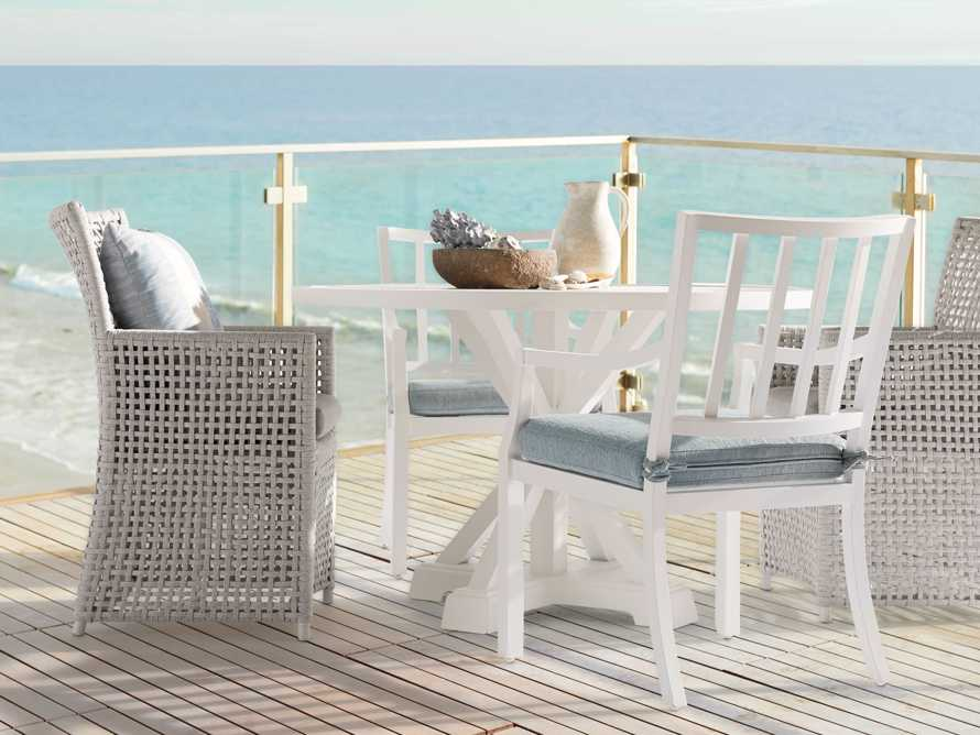 "Montego Outdoor 23"" Dining Arm Chair in Blanc, slide 7 of 7"