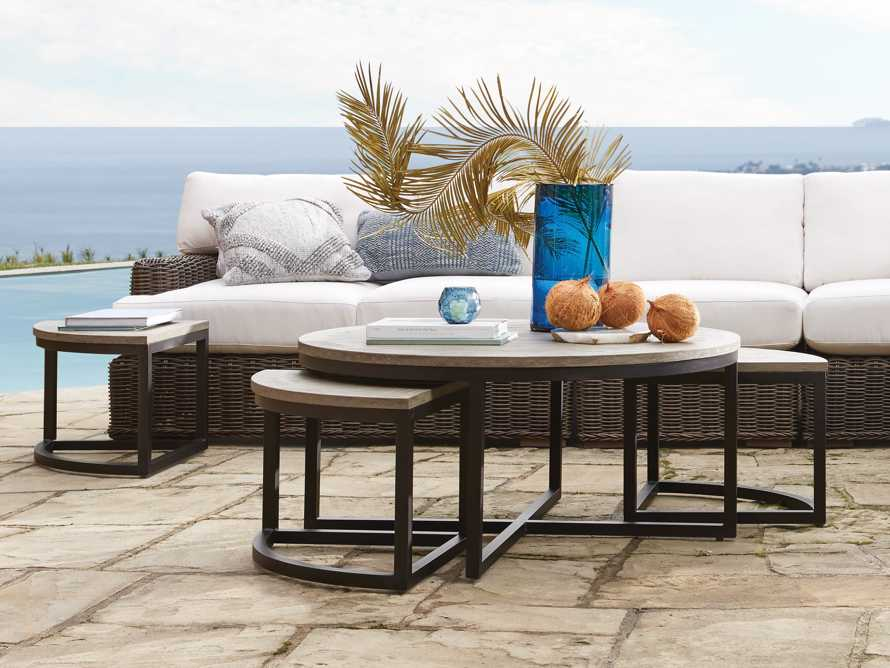 Palmer Outdoor Round Nesting Coffee Table in Driftwood Grey, slide 1 of 9