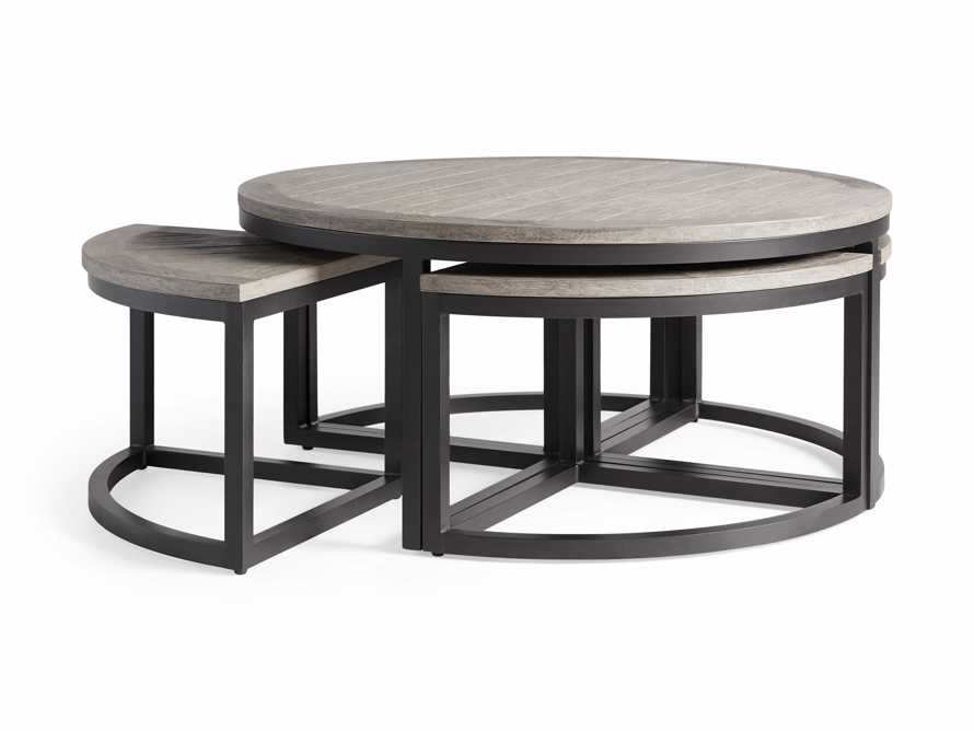 Palmer Outdoor Round Nesting Coffee Table in Driftwood Grey, slide 4 of 9