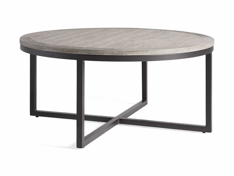 Palmer Outdoor Round Nesting Coffee Table in Driftwood Grey, slide 5 of 9