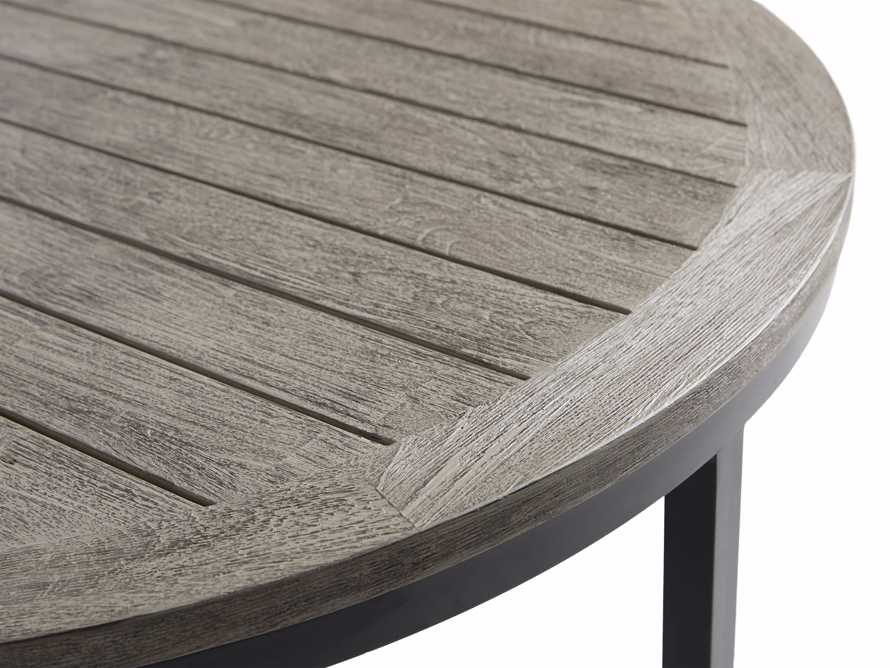 Palmer Outdoor Round Nesting Coffee Table in Driftwood Grey, slide 7 of 9