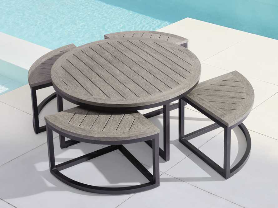 Palmer Outdoor Round Nesting Coffee Table in Driftwood Grey, slide 2 of 9