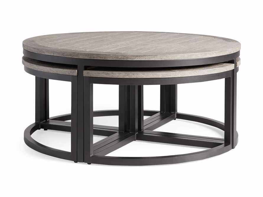 Palmer Outdoor Round Nesting Coffee Table in Driftwood Grey, slide 3 of 9