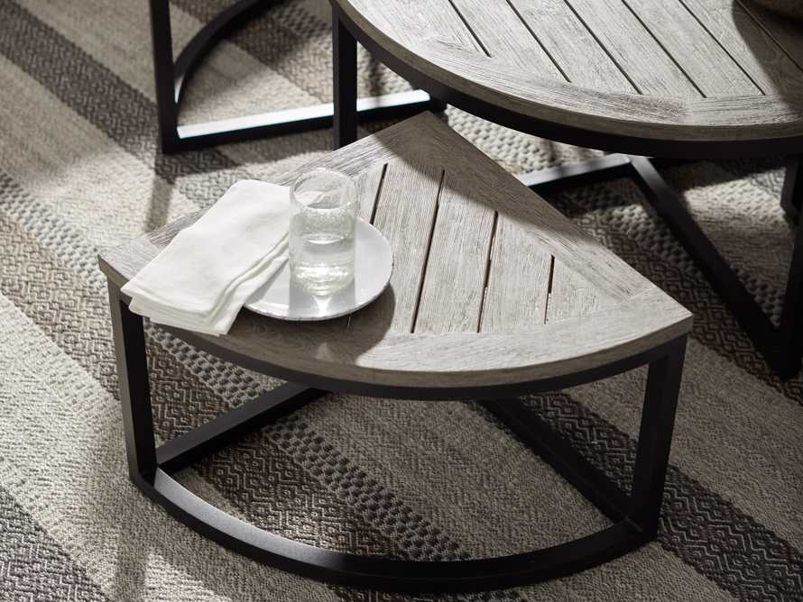 Palmer Outdoor Round Nesting Coffee Table in Driftwood Grey, slide 8 of 9