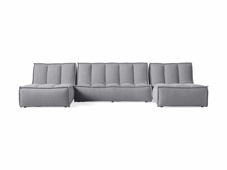 """Porto Outdoor Upholstered 132"""" Three Piece Double Chaise Sectional in Southend Grey, slide 2 of 6"""