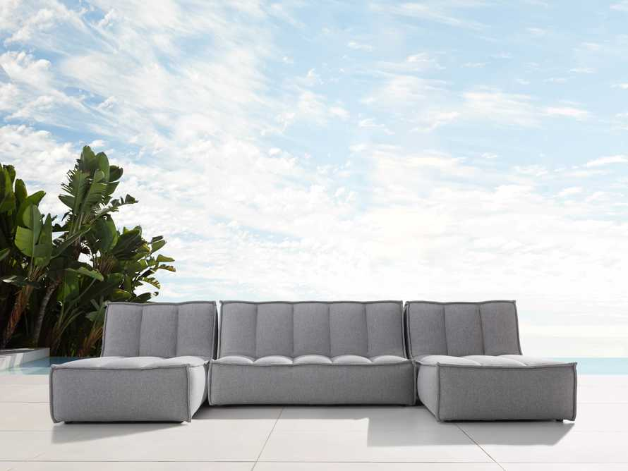 """Porto Outdoor Upholstered 132"""" Three Piece Double Chaise Sectional in Southend Grey, slide 1 of 6"""