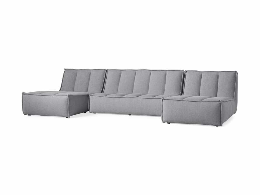 """Porto Outdoor Upholstered 132"""" Three Piece Double Chaise Sectional in Southend Grey, slide 3 of 6"""