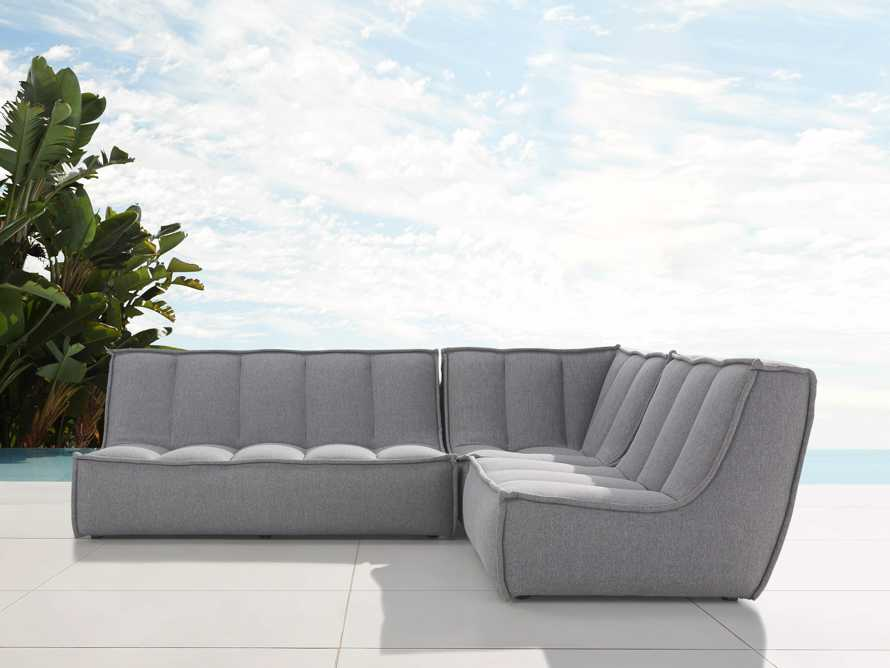 """Porto Outdoor Upholstered 99"""" Three Piece L Sectional in Southend Grey, slide 1 of 7"""