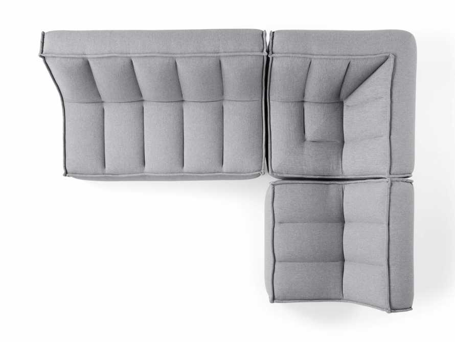 """Porto Outdoor Upholstered 99"""" Three Piece L Sectional in Southend Grey, slide 5 of 7"""