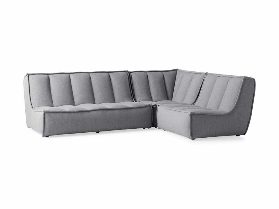 """Porto Outdoor Upholstered 99"""" Three Piece L Sectional in Southend Grey, slide 3 of 7"""