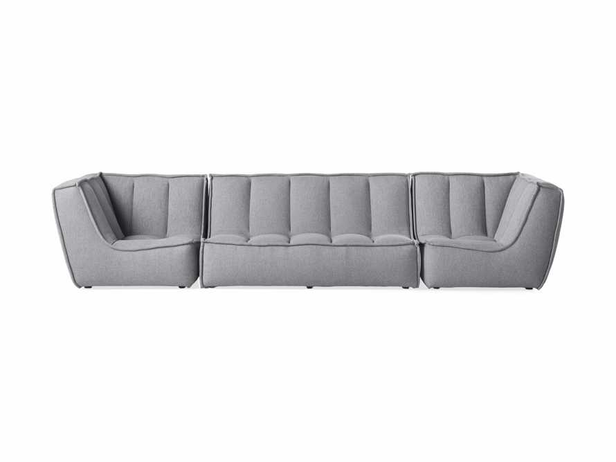 "Porto Outdoor Upholstered 138"" Three Piece Sectional in Southend Grey, slide 2 of 7"
