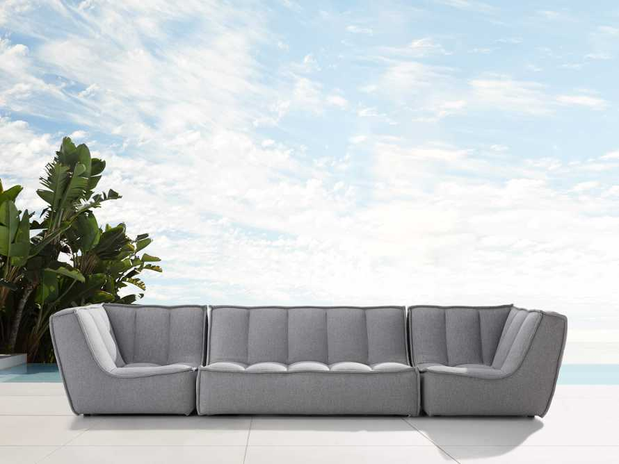 "Porto Outdoor Upholstered 138"" Three Piece Sectional in Southend Grey, slide 1 of 7"
