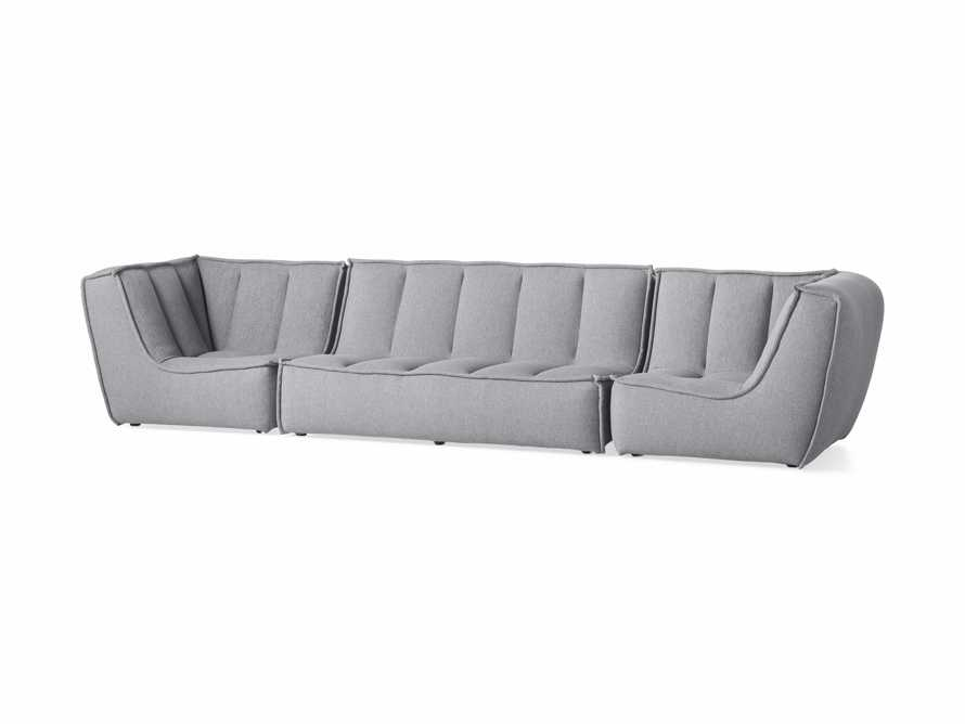 "Porto Outdoor Upholstered 138"" Three Piece Sectional in Southend Grey, slide 3 of 7"
