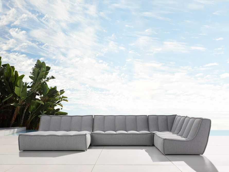 "Porto Outdoor Upholstered 159""  Four Piece Double Chaise Sectional in Southend Grey, slide 1 of 7"
