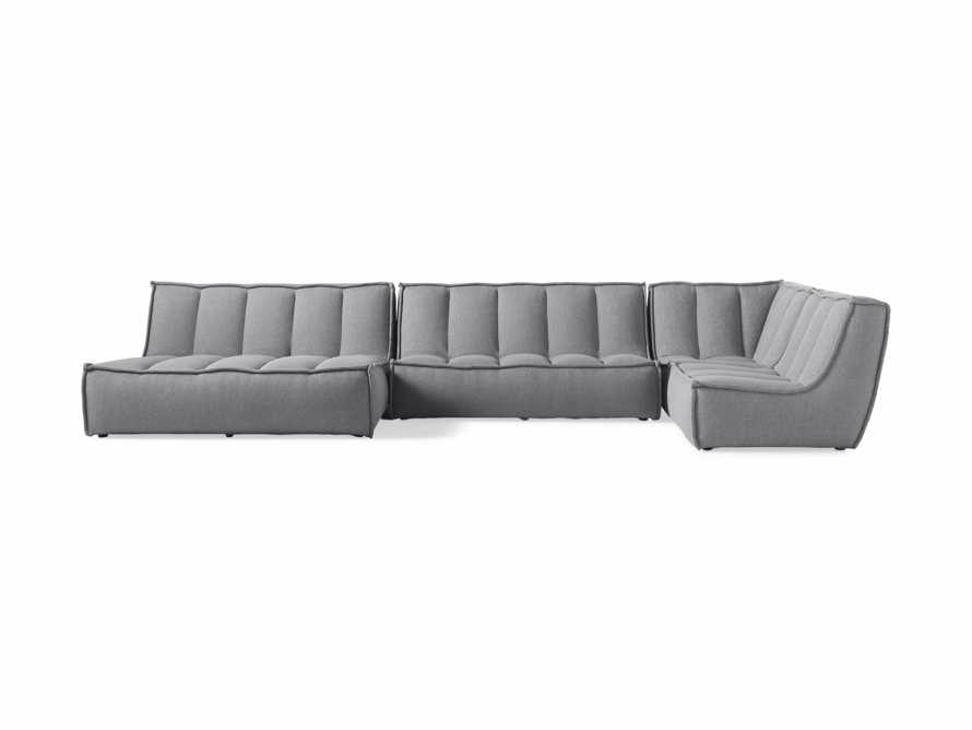 "Porto Outdoor Upholstered 159""  Four Piece Double Chaise Sectional in Southend Grey, slide 2 of 7"