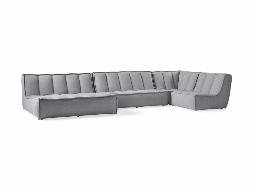 "Porto Outdoor Upholstered 159""  Four Piece Double Chaise Sectional in Southend Grey, slide 3 of 7"